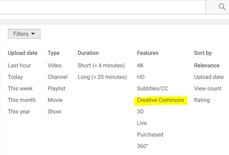 Youtube Creative Commons Filter